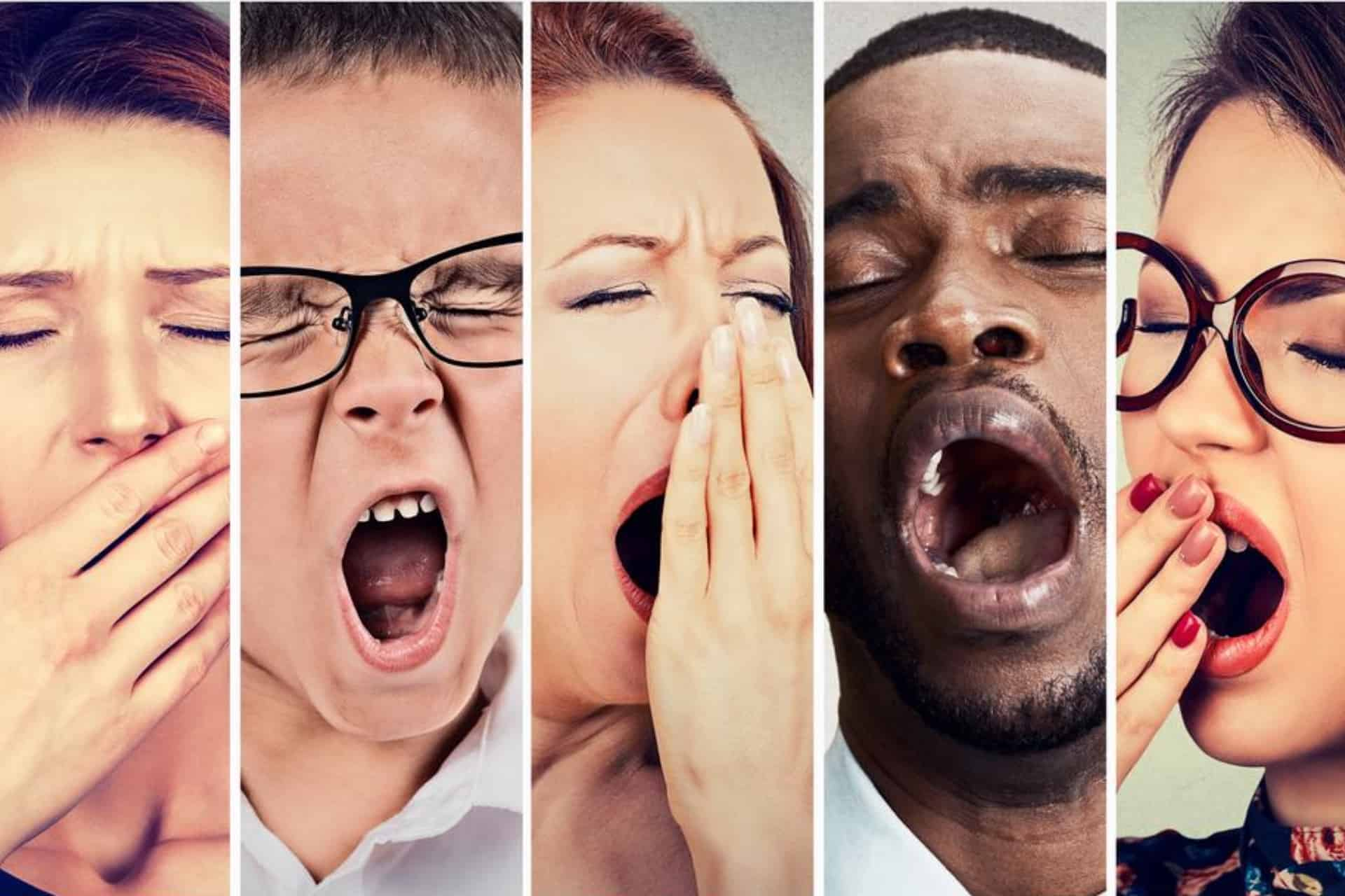 People struggling with different sleep disorders yawning.