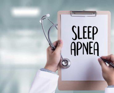 Dr. clipboard shows diagnosis of sleep apnea.