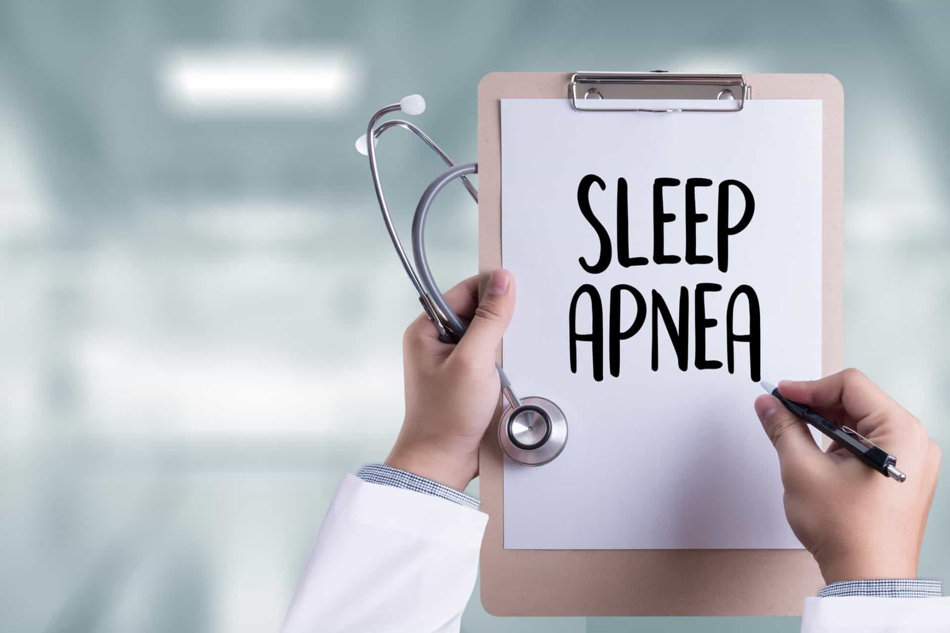 Dr. clipboard shows diagnosis of sleep apnea.