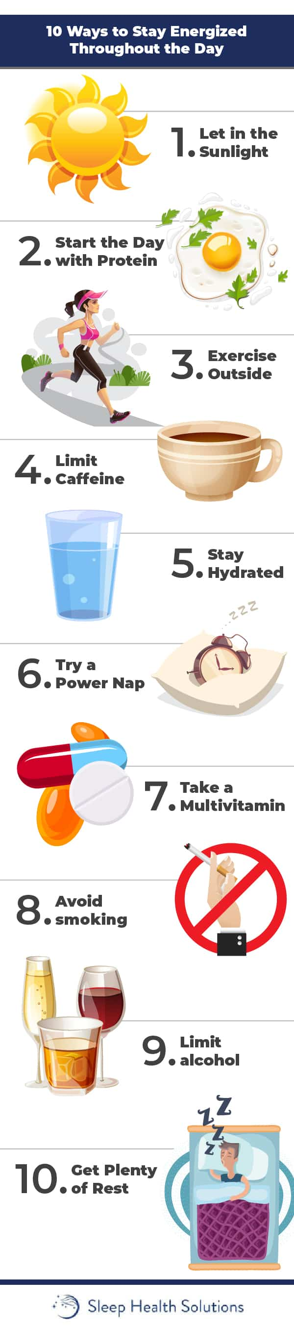Infographic showing 10 simple ways to boost daytime energy.
