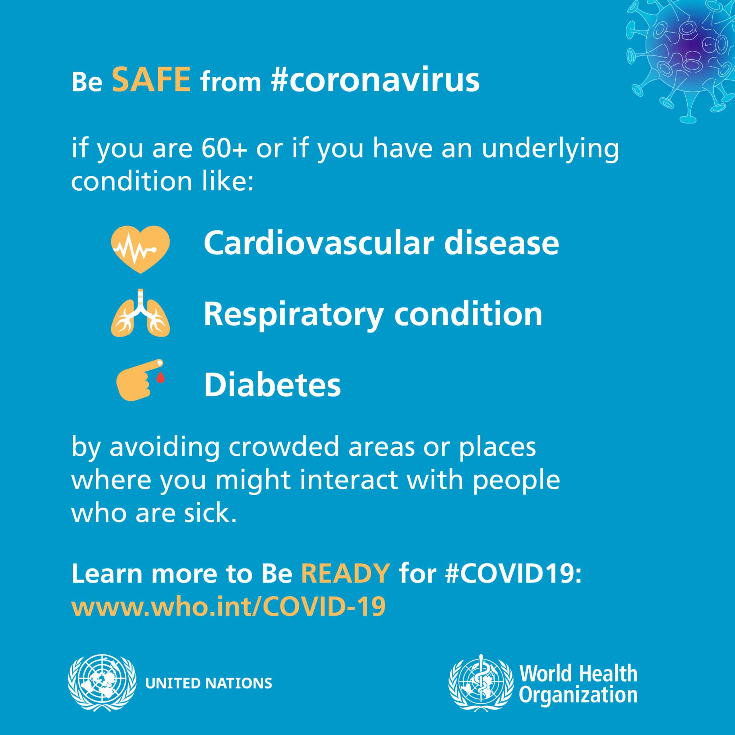 Poster made by the WHO with safety information about underlying conditions and risk factors for Coronavirus