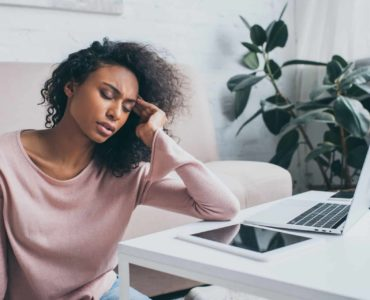 Woman tired while working from home